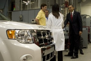 President Obama views Ford Plug-in Hybrid at Edison Electric
