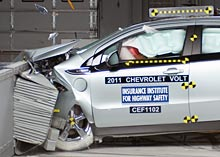Volt IIHS Front Test Chevrolet Volt and Nissan LEAF Electric Cars Earn Highest Safety Ratings